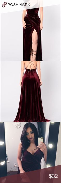 BURGUNDY VELVET DRESS Floor length red velvet dress! It's absolutely stunning! I'm 5'4 and it was a bit long on me, only wore for about an hour so it's like brand new! Dresses