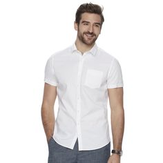 Men's Marc Anthony Slim-Fit Stretch Button-Down Shirt, Size: Xl Tall, White