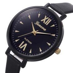 Women Big Dial PU Leather strap Quartz Analog Wristwatch