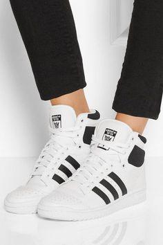 adidas Originals | Top Ten textured-leather high-top sneakers | NET-A-PORTER.COM