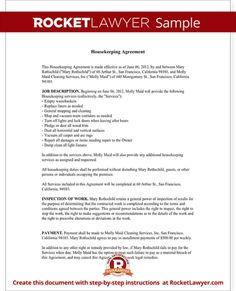 Cleaning Contract Agreement  Cleaning Contracts Free Printable