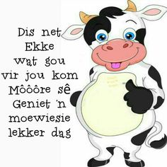 Morning Blessings, Good Morning Wishes, Lekker Dag, Cartoon Cow, Afrikaanse Quotes, Goeie More, Messages, Words, Inspiration