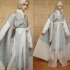 [EunWal] Sharman's costume in White-silver tone. #koreandoll #costumedesign #silvercolour #whitecolour #hanbok #silk #dollstagram #bjd #balljointeddoll #craft #Adrian #kanadoll #hanbok #한복 #구체관절인형 #인형한복