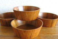 Vintage Wood Bowls-Set of 4 by MarketHome on Etsy