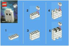 LEGO 40013 LEGO Ghost instructions displayed page by page to help you build this amazing LEGO Seasonal set Lego Halloween, Halloween Ghosts, Halloween Crafts, Lego Minecraft, Lego Toys, Lego Duplo, Notice Lego, Lego Therapy, Lego Challenge