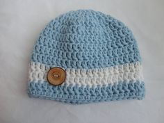 Boy Baby Hat 6-12 months,  Blue and White Beanie with Button,  Baby Boy Beanie on Etsy, $18.00