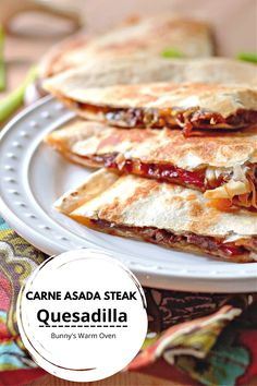 Carne Asada Steak Quesadilla has a steak , pepper and onion filling that is marinaded in a delicious concoction of flavors. This flavor infused filling combined with melted cheddar cheese on a crispy tortilla is CRAZY GOOD!