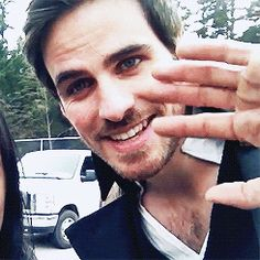 "Colin O'Donnoghue as Captain Hook from the TV Show ""Once Upon A Time"" saying hi to his fans while filming."