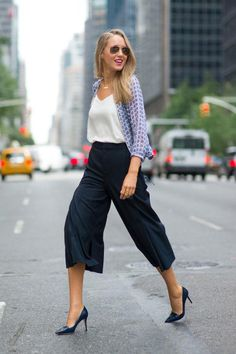 Memorandum in navy culottes, a white top, and light printed jacket
