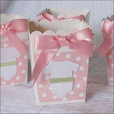 Popcorn Favor Box Girls Baby Shower Shabby di JaclynPetersDesigns