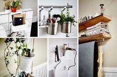 Kolaż obrazów pokazujących, w jaki sposób przy sprytnym wykorzystaniu przedmiotów z całego domu twoja łazienka stanie się bardziej praktyczna.