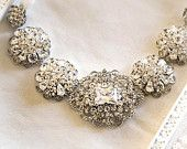 Bridal Rhinestone Statement Ribbon Necklace -- Crystal Wedding Brooch Necklace Vintage Style - wedding jewelry - Isabel http://www.etsy.com/shop/LottieDaDesigns?ref=pr_shop_more