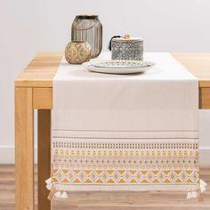 Chemin de table beige motifs ethniques L150