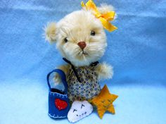 Tiny Teddy Bear in Blond Mohair Fur with Tote Cloud by KatesCache, $28.00