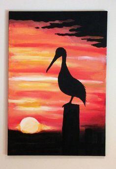Pelican Sunset Acrylic Painting by BeadleDesignsLA on Etsy