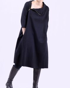 Autumn long dress Neckline zipper long babydoll dress. $89.00, via Etsy.