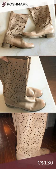 Rud by Rudsak star cut outs tall tan / taupe boots Size 39 (equates to 8.5-9). Very comfortable, and hardly worn.  From a pet-free / smoke-free home.  The sides of the sole / heel is made to look distressed / worn (this is not damage).  There is some darkening on the leather at the toes (shown in photos).  Photos uploaded in square format and I was unable to resize to capture the whole photo. (I can upload more if needed :) )  Check out my closet for other great items! Bundle & save!  *I… Lace Up Espadrille Sandals, Lace Up Espadrilles, Leather Wedge Sandals, T Strap Sandals, Leather Heels, Star Cut Out, Leopard Print Flats, Zara Gold, Gold Ballet Flats