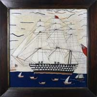 An English Sailor's Woolwork Picture of a Ship (woolie), Circa 1870.