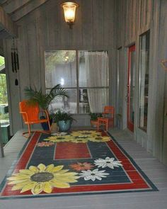 Painted rug for porch hmmmm I am liking this idea! Painted rug for porch hmmmm I am liking this idea! Painted Porch Floors, Porch Paint, Porch Flooring, Painted Rug, Painted Patio Concrete, Painted Decks, Painted Floor Cloths, Concrete Porch, Outdoor Flooring