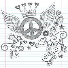 Barış işareti kanatlı yarım yamalak vektör doodles — Stok İllüstrasyon #8653718