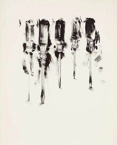 Jim Dine, tools, interesting linear composition that contrasts the chaotic ink splatters Jim Dine, Pop Art, Cincinnati, James Rosenquist, Tool Tattoo, Observational Drawing, Mechanical Art, Still Life Drawing, Piercings
