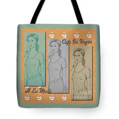 """Cafe in Vogue 2 Tote Bag 18"""" x 18"""""""