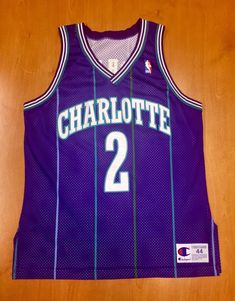 Vintage 1995 Larry Johnson Charlotte Hornets Authentic Champion Jersey Size  44 alonzo mourning michael jordan kemba walker knicks nba shirt 25aaf3d57
