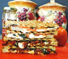 Grilled Smoked Mozzarella, Tomato, and, Basil Sandwich. Click for full recipe. #tomato #panini #sandwich #cheese #sun-dried #bread