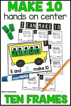 A fun and engaging hands on approach to teaching students how to make 10 using ten frames. The beginning stages of addition perfect for math stations and center time Number Sense Kindergarten, Kindergarten Lesson Plans, Math Stations, Math Centers, Kindergarten Centers, Division Math Games, Math Fact Fluency, Phonics Lessons, Ten Frames