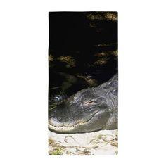 Alligator Sunbathing Beach Towel on CafePress.com