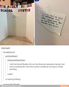 Lmao I would've gotten in school suspension if I would've ever tried to turn in something like this