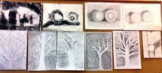 Charcoal drawings, waldorf 6th grade