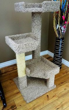 New Cat Condos 46 Inch Solid Wood Triple Kitty Pad