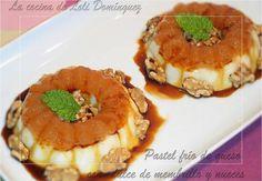Pastel frío de queso con  dulce de membrillo y nueces