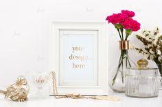 Styled Stock White Portrait Frame Mockup - Photo-based mock-up - 0026 - Lovely flower in glass vase with portrait oriented white frame on white background - How To Make Logo, Frame Display, White Style, Mockup, Design Elements, Hand Lettering, Framed Prints, Portrait, Calligraphy