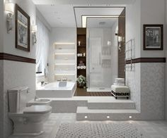 25 Modern Shower Designs and Glass Enclosures, Modern Bathroom Design Trends Interesting bath/shower combo with beautiful built in wall shelf in between. Contemporary Bathroom Designs, Bathroom Design Luxury, Bathroom Interior, Modern Bathrooms, Luxury Bathrooms, Small Bathrooms, Contemporary Style, Contemporary Building, Contemporary Wallpaper