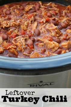 Crockpot Turkey Chili Recipe | Leftover Thanksgiving  Turkey Recipe (I'm going to make with black beans)