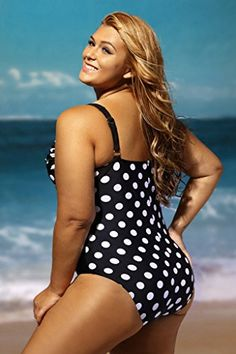 f14bb5b5c8 Aleumdr Womens Black White Polka Dot Print Padded Push up One Piece Swimsuit  Monokini Swimwear Plus Size 2XL Size Black