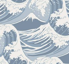 Great Wave Wallpaper Dramatic vintage 19th century design in contemporary colours. Blue and white colourway.