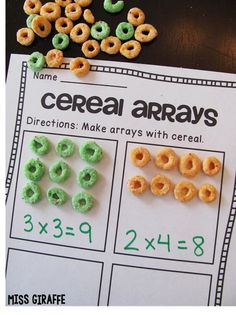 Arrays and repeated addition with cereal makes such a fun small groups lesson or math center in grade or grade to introduce students to multiplication… they make rectangular arrays with cereal then either write a multiplication equation or repeated Maths 3e, Teaching Multiplication, Array Multiplication, Teaching Math, Repeated Addition Multiplication, Multiplication Strategies, Array Math, Ks1 Maths, Math Strategies