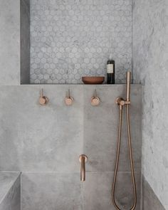 Rethinking the Shower Niche (& Why I Think The Ledge Is Next) Rose Gold Bathroom Faucet! The post Rethinking the Shower Niche (& Why I Think The Ledge Is Next) appeared first on Badezimmer ideen. Gold Bathroom Faucet, Bathroom Renos, Small Bathroom, Master Bathroom, Bathroom Remodeling, Bathroom Ideas, Remodeling Ideas, Bathroom Inspo, Concrete Bathroom