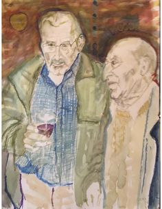 2 figures (watercolor & watercolor crayons, 50 cm x 70 cm, September 10, 2017)
