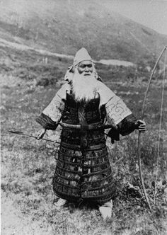 Aboriginal North Japanese warrior from the tribe of the Ainus, 1904