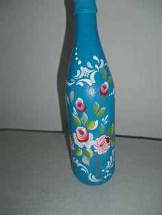 Garrafa decorativa tema flor  Decorative flower theme bottle
