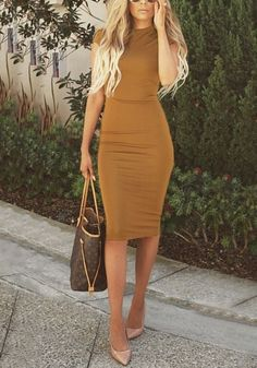 A dress doesn't need to have an intricate design to look classy. For instance, this sassy brown midi sheath dress.