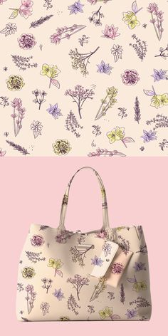Floral pattern design for a handbag with neutral colors and pastels. Design by bananodromo. Watercolor Design, Floral Watercolor, Watercolor Techniques, Timeless Classic, Neutral Colors, Pattern Design, Logo Design, Tote Bag, Purses