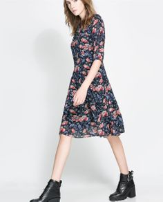 ZARA - SALE - FLORAL DRESS WITH FULL SKIRT