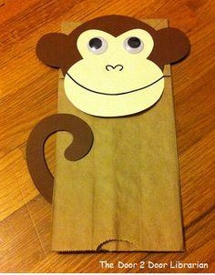 Monkey Paper Bag Puppets
