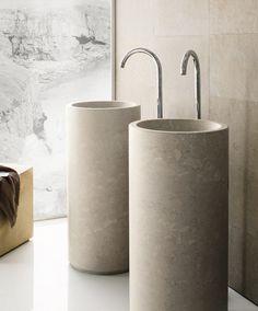 Minimal By Neutra Design Stone Washbasin Natural Modern Interior Lavamanos Pedestal Washroom Bathroom
