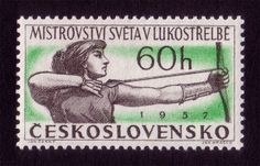 foreigh postage stamps | Czechoslovak postage stamp promoting the 1957 International Archery ..